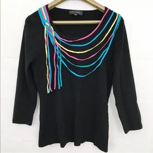 Cable & Gauge Knit Top Multi Color Accent Strings